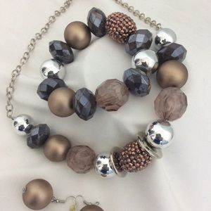 Statement Necklace Bracelet and Earring Set Browns